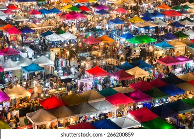BANGKOK - JANUARY 23, 2015: View from above of a night market in Huay Khwang district, Bangkok.