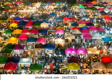 BANGKOK - JANUARY 23, 2015: View from above of a night market in Huay Khwang district, Bangkok.