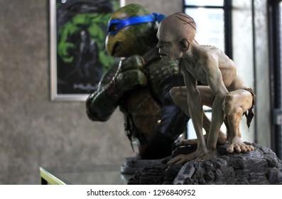 BANGKOK - JANUARY 27 : Bust Ninja Turtles and Gollum Figure Model on display at The M Cafe on JANUARY 27, 2019 in Bangkok, Thailand
