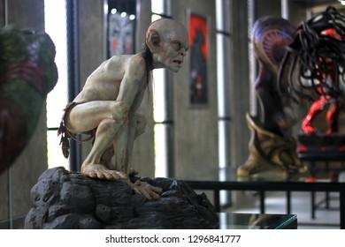 BANGKOK - JANUARY 27 :  Gollum Figure Model on display at The M Cafe on JANUARY 27, 2019 in Bangkok, Thailand