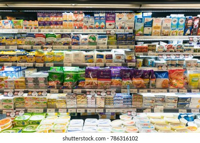 BANGKOK - JUL 2 : Dairy products on the shelf in Top Supermarket at Central Ladprao on Jul 2, 2017 in Bangkok, Thailand.