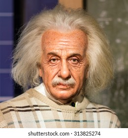BANGKOK - JUL 22: A waxwork of Albert Einstein on display at Madame Tussauds on July 22, 2015 in Bangkok, Thailand. Madame Tussauds' newest branch hosts waxworks of numerous stars and celebrities