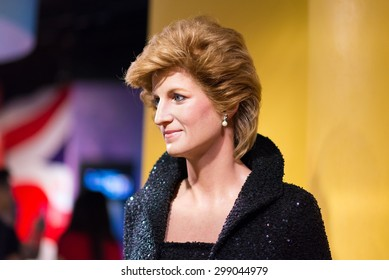 BANGKOK - JUL 22: A waxwork of Diana queen on display at Madame Tussauds on July 22, 2015 in Bangkok, Thailand. Madame Tussauds' newest branch hosts waxworks of numerous stars and celebrities.