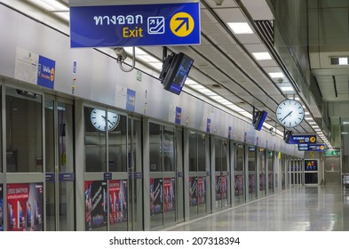 BANGKOK - JULY 18: night on an empty metro (MRT) station on JULY 18, 2014 in Bangkok, Thailand. The MRT serves more than 240,000 passengers each day.