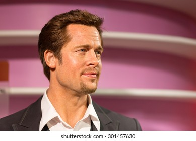 BANGKOK -JULY 22: A waxwork of Brad Pitt on display at Madame Tussauds on July 22, 2015 in Bangkok, Thailand. Madame Tussauds' newest branch hosts waxworks of numerous stars and celebrities
