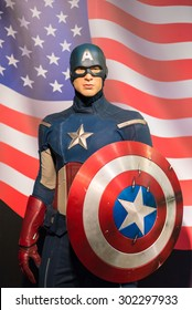 BANGKOK -JULY 22: A waxwork of Captain America on display at Madame Tussauds on July 22, 2015 in Bangkok, Thailand. Madame Tussauds' newest branch hosts waxworks of numerous stars and celebrities