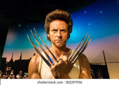BANGKOK -JULY 22: A waxwork Hugh Jackman in Wolverine character on display at Madame Tussauds on July 22, 2015 in Bangkok, Thailand.