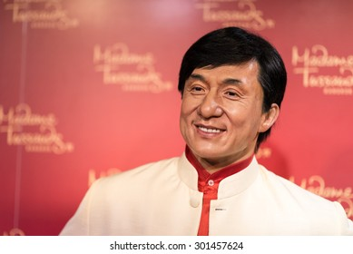 BANGKOK -JULY 22: A waxwork of Jackie Chan on display at Madame Tussauds on July 22, 2015 in Bangkok, Thailand. Madame Tussauds' newest branch hosts waxworks of numerous stars and celebrities