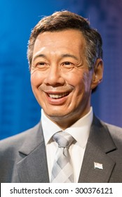 BANGKOK -JULY 22: A waxwork of Lee Hsien Loong on display at Madame Tussauds on July 22, 2015 in Bangkok, Thailand. Madame Tussauds' newest branch hosts waxworks of numerous stars and celebrities
