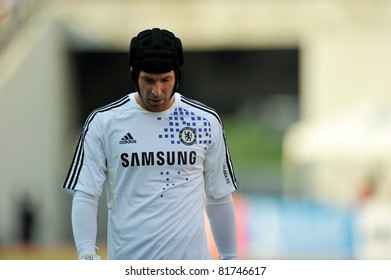 BANGKOK - JULY 24 : P.Cech in action during Coke Super Cup :Chelsea Asia Tour 2011 Thailand. TPL All Star between Chelsea at Rajamangla Stadium ,July 24, 2011 in Bangkok, Thailand.