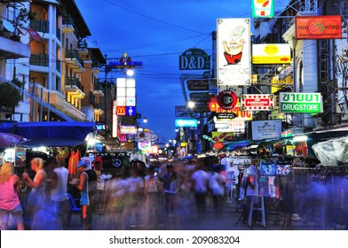 BANGKOK - July 27:Nighttime view of backpacker haven Khao San Road on July 27, 2014 in Bangkok,Thailand.Famous for its budget accommodation, hostels on Khao San Road starts from $8.5 or B250 per night