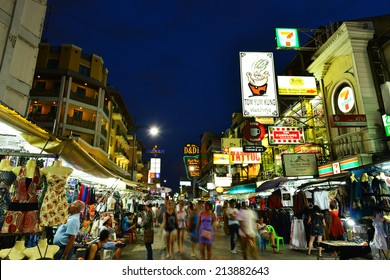 BANGKOK - July 27:Nighttime view of backpacker haven Khao San Road on July 27, 2014 in Bangkok,Thailand.Famous for its budget accommodation, hostels on Khao San Road starts from $8 or B250 per night