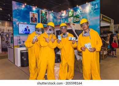BANGKOK - JULY 4,2014 : Group of cosplayer at Breaking Bad photobooth in Bangkok Comic Con 2014 on July 4, 2014 at Siam Paragon, Bangkok, Thailand.