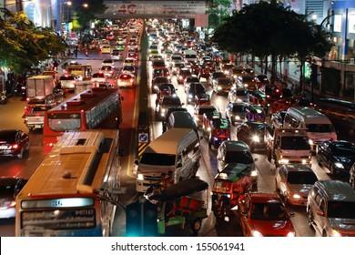 BANGKOK - JULY 5: Traffic jam on the road at Siamsquare  on July 5, 2013 in Bangkok, Thailand.