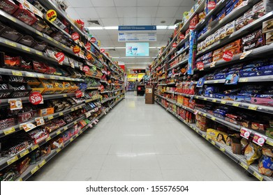 BANGKOK - JUN 15: A view of an empty aisle at a Tops Supermarket on Jun 15, 2013 in Bangkok, Thailand. Tops is the largest supermarket chain in Thailand operating around 120 stores nationwide.