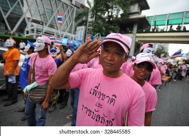 BANGKOK - JUN 16: Anti government protesters rally in the Thai capital's shopping district on Jun 16, 2013 in Bangkok, Thailand. The protesters are calling for the government to be overthrown.