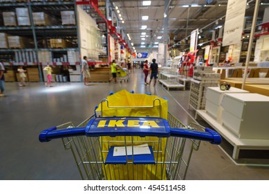 BANGKOK - JUN 26 : Ikea trolley at Ikea , Mega Bangna on Jun 26, 2016. Founded in Sweden in 1943, Ikea is the world's largest furniture retailer.