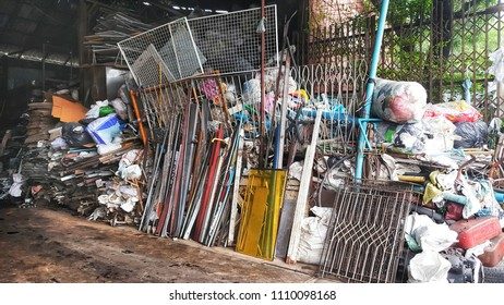 Bangkok - June 11,2018 : Factory to buy antiques to separate waste at Ramintra Rd,Kannayao,Bangkok,Thailand. recyclable waste,environmental,reduce global warming,separate waste paper, plasti,glass