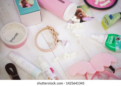 Bangkok - June 15, 2019 : Dog accessories with branding such as furminator, fresh breath drops for pets, ceramic pet tray, coating spray, leather dog collar with dog name and dog snack milk tablet.