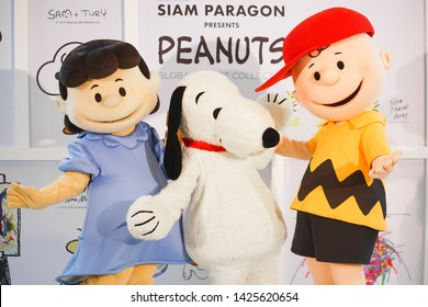 Bangkok - June 15, 2019 : Famous character mascots from Peanuts movies. From Left to right is Lucy, Snoopy and Charlie Brown. Snoopy is first created as a comic strip by Charles M. Schulz.