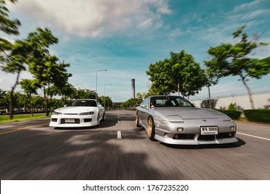 Bangkok, June 2020 : 90's car Nissan 200sx & Nissan silvia S15 Rolling on street around suvarnabhumi airport.