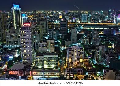 BANGKOK - JUNE 23, 2017: Overview of Sukhumvit area in Bangkok during nighttime.