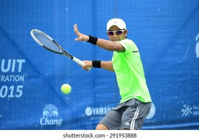 BANGKOK JUNE 27 : Christopher Rungkut (INA) action in Chang ITF Pro Circuit International Tennis Federation 2015 at Rama Gardens Hotel on June 27, 2015 in Bangkok, Thailand. He won in this final match