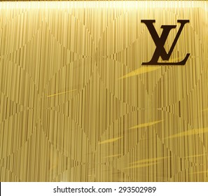 BANGKOK - JUNE 28, 2015: Louis Vuitton symbol on monogram wall at  shop in Siam Paragon Shopping mall, Thailand. LV is a French fashion house. LV has been named the world's most valuable luxury brand.