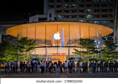 BANGKOK - JUNE 31, 2020 : The first day of Apple company open second store at Central world Shopping in Bangkok Thailand .