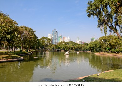 Bangkok, Limphini Park, Thailand - January 4, 2016: Lumphini Park, Lumpini or Lumpinee, park in Thailand, rare open public space, and playgrounds, with a lake where visitors can rent boats.