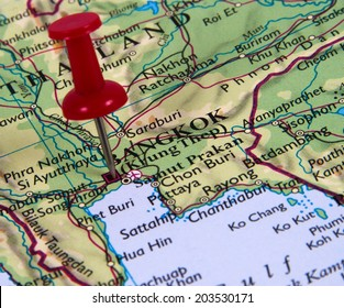 Bangkok  in the map with pin