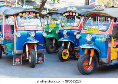 BANGKOK -  MAR.13 : Thai Tuk Tuk taxi on Maharaj Road Rattanakosin Island of Bangkok on MAR.13, 2016 in Bangkok, Thailand.