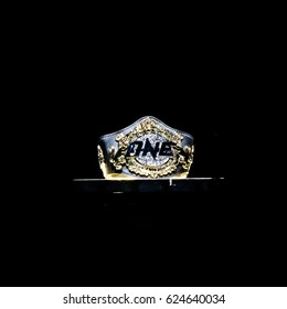 "BANGKOK - MARCH 11 : One Championship Belt at podium stand in One Championship ""One : Warrior Kingdom"" on March 11, 2017 at Impact Arena, Muang Thong Thani, Bangkok, Thailand"