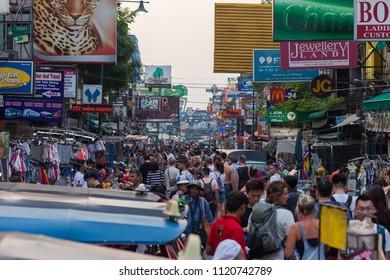 BANGKOK, MARCH 11: Tourists walk along Bangkok's Khao San Road on March 11, 2018.