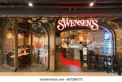 BANGKOK - MARCH 17, 2016: Swensen's restaurant in the Siam Paragon Shopping mall. Swensen's is a global chain of ice cream restaurants that started in San Francisco, California, in 1948.