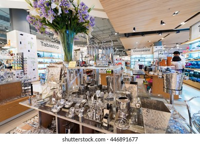 BANGKOK - MARCH 17, 2016: Various metal utensils at a store of home goods in the Siam Paragon Mall. It is one of the biggest shopping centres in Asia.