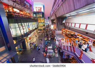 BANGKOK - MARCH 17, 2016: A view of the facade of the Siam Square One and the Siam metro station. It is a shopping and entertainment area in the Siam District of Bangkok.