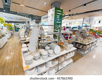 BANGKOK - MARCH 17, 2016: A wide range of tableware at the Living store in the Siam Paragon Mall. It is one of the biggest shopping centres in Asia.