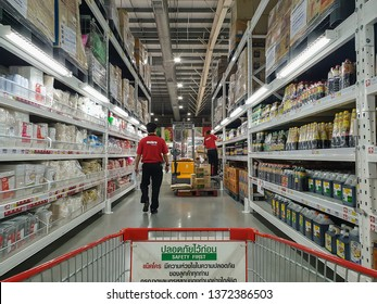 BANGKOK -MARCH 2019: The Makro food service is a store that has many products.The staff of the Makro food service department are organizing the products orderly. in Thailand.