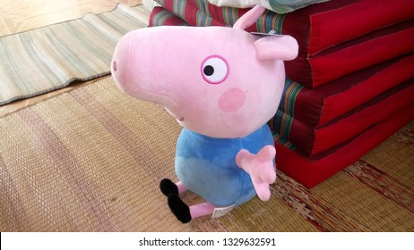 Bangkok Thailand​-5 March 2019,peppa pig Doll make in chaina market..