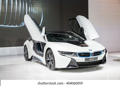 BANGKOK - MARCH 22: Image zoom of BMW i8 car on display at The 37 th Thailand Bangkok International  Motor Show  on March 22, 2016 in Bangkok, Thailand.