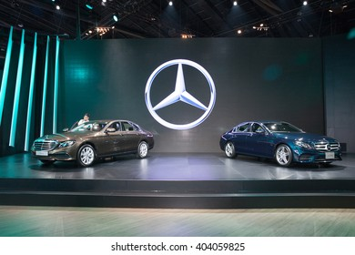 BANGKOK - MARCH 22:  Mercedes Benz E 220 d car on display at The 37 th Thailand Bangkok International  Motor Show  on March 22, 2016 in Bangkok, Thailand.