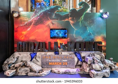 BANGKOK - March 26, 2021: A beautiful standee of Godzilla vs. Kong movie display at the cinema to promote the movie