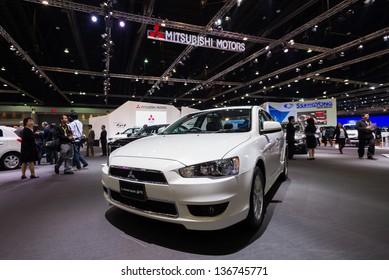 BANGKOK - MARCH 26 : Mitsubishi Lancer EX on display at The 34th Bangkok International Motor Show 2013 in Bangkok, Thailand.