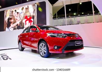 BANGKOK - MARCH 26 : The Toyota all new Vios car on display at The 34th Bangkok International Motor Show 2013 on March 26, 2013 in Bangkok, Thailand.