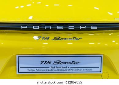 BANGKOK - March 28, 2017 : Porsche car on display at the 38th BANGKOK INTERNATIONAL MOTOR SHOW 2017 on March 28, 2017 in Bangkok, Thailand.
