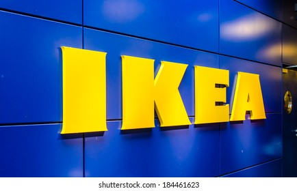 BANGKOK - MARCH 30, 2014: Logo IKEA Mega Bangna shopping BANGKOK,THAILAND.the Swedish IKEA is the world's largest furniture retailer.