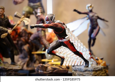 BANGKOK - MARCH 31 :  Closeup ANTMAN Statue Figure Model on display at The Home on MARCH 31, 2019 in Bangkok, Thailand