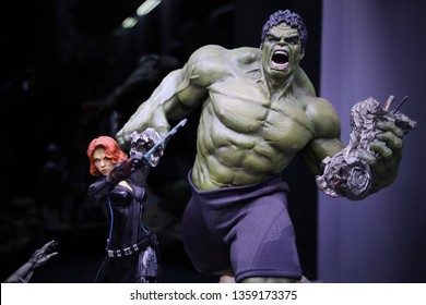 BANGKOK - MARCH 31 :  Closeup BLACK WIDOW and HULK Statue Figure Model on display at The Home on MARCH 31, 2019 in Bangkok, Thailand
