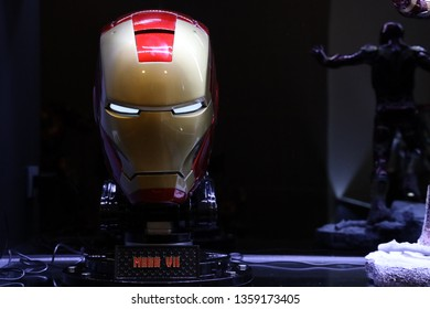 BANGKOK - MARCH 31 :  Closeup of Helmet of IRONMAN on display at The Home on MARCH 31, 2019 in Bangkok, Thailand
